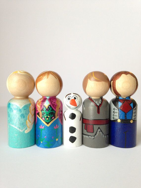 the princess collection  frozen peg doll set by #thewhimsicalsweet {yeah- my friend Leandra is effing awesome at making these!}