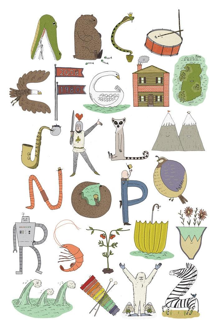 Alphabest Poster - An Illustrated Alphabet. $15.00, via Etsy.