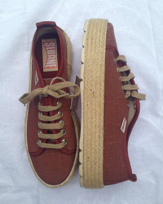 SLOANE Sneaker con suola alta in corda naturale, scarpe da ginnastica con zeppa  lino e cotone, scarpe sportive color ruggine N 37/N 38/N 41