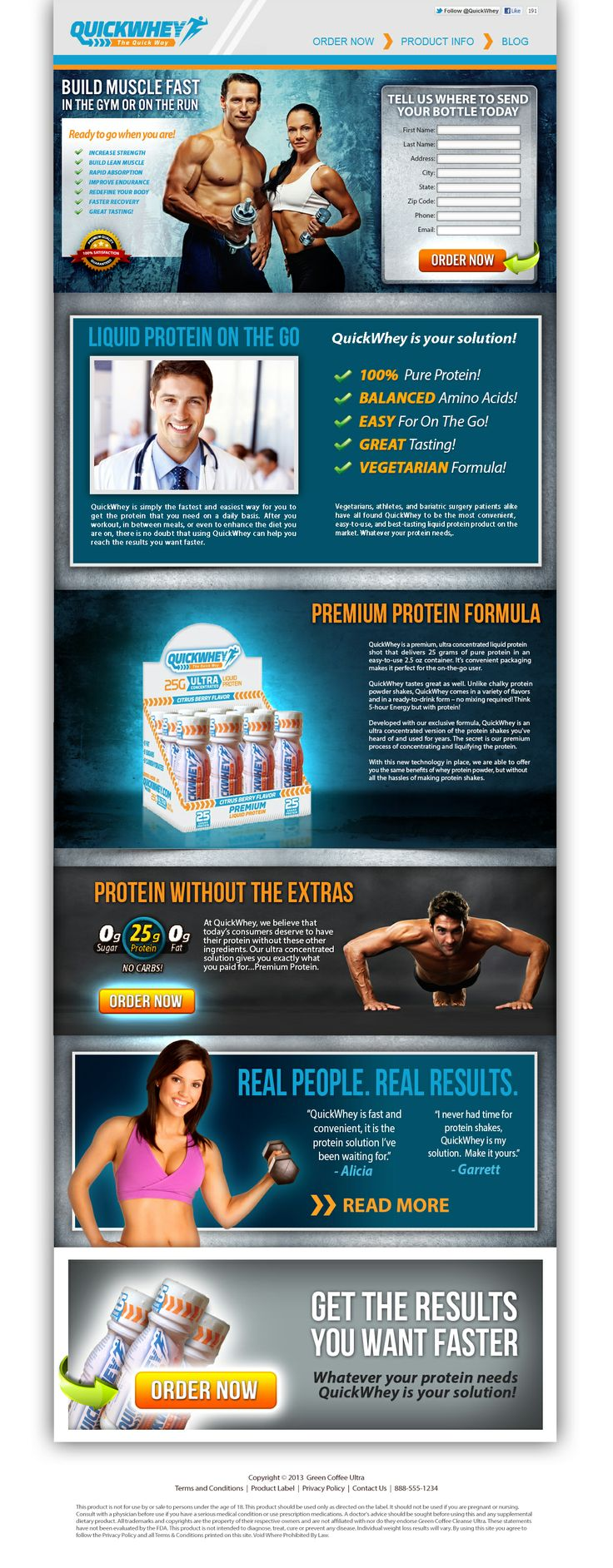 Quick Whey Landing page.