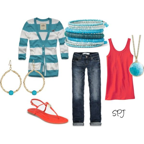 """Caliopy"" by s-p-j on PolyvoreColors Combos, Coral, Style, Clothing, Fashion Forward, Fashion Fanatic, Cute Outfit, Teal Fashion, Dreams Closets"