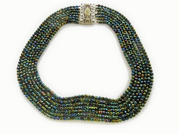 Vintage carnival glass cascade 7 strands necklace with jeweled