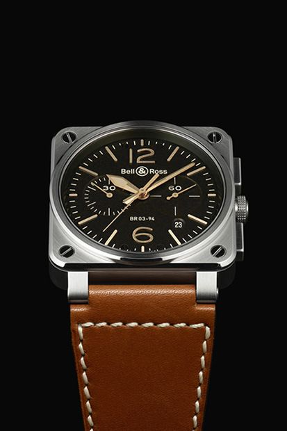 This piece has a gloriously vintage appeal to it, with the black face offset by gold dials, also including a date indicator. A black calfskin strap completes the piece, nicely touched with white stitching. BR al21
