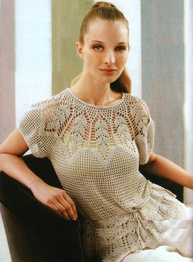 Blusa A Crochet Modelo Francès