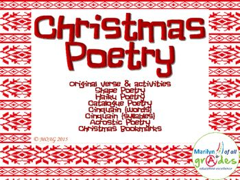 """This is a 30 page poetry unit based on the theme of Christmas. I am surprised at myself. I find that I have this urge, later in life, to write poetry. I do not mean """"stuffy"""" (as the kids would say) but, hopefully, fun poetry. I am enjoying this new side of me, as I am also finding that story ideas are coming to me out of """"nowhere""""."""
