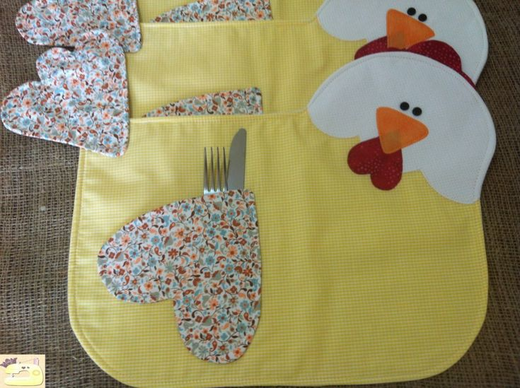 Cute placemats.....(cockle-doodle-doo! a place mat for me, a place mat for you! i LOVE these!)....