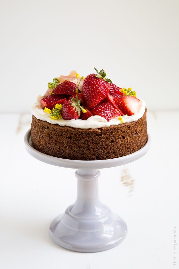 Strawberry Carrot Cake with Candied Radish and Rapini Flowers | The Little Epicurean