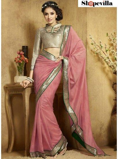 Conspicuous Pink Designer Saree For Reception-304