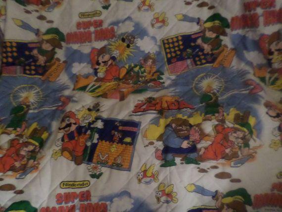 Play Zelda Super Mario Nintendo Bedspread Thin Comforter TWIN