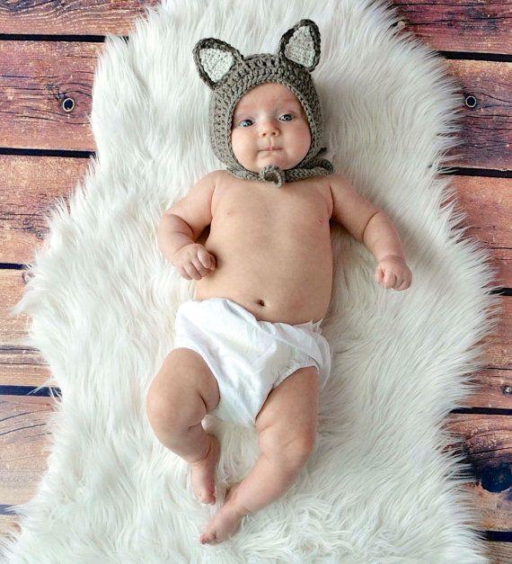 Baby Wolf Hat Crochet Wolf Hat Wolf Bonnet by MiniMaeCrochet