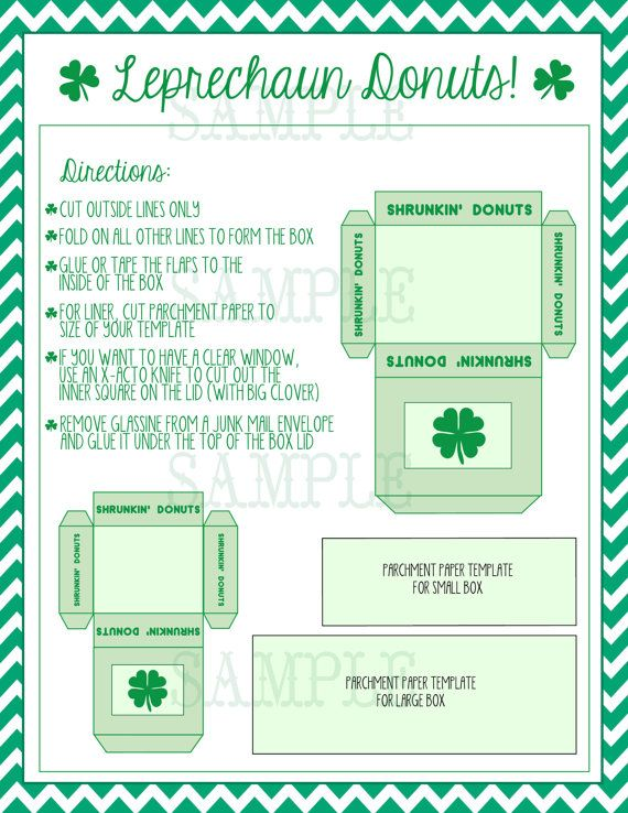 leprechaun donuts printable template instant download donut box