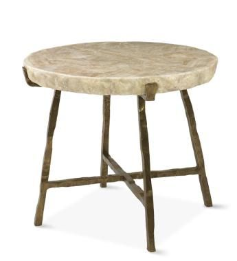 Century Furniture   Grand Tour Furniture Side Table   Inlaid Crystal Stone  Top With Bronze Finish Base.