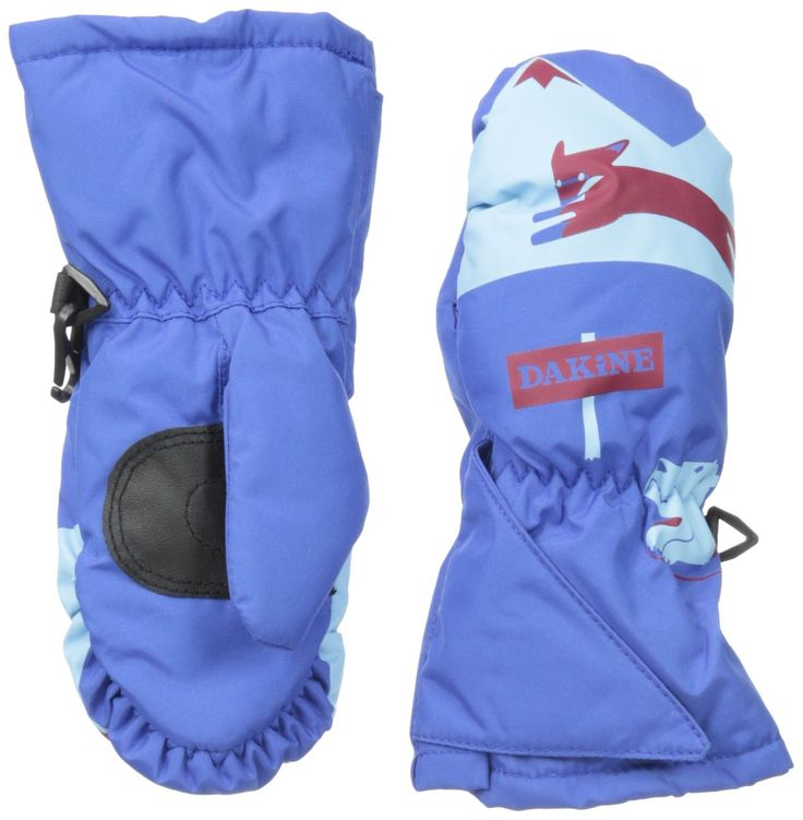 Dakine Brat Mitt, Fox Run, Toddler Large. Cuff Closure: Hook and loop adjustable gusset. Insert: None. Insulation: High loft synthetic [ 140/350g ]. Palm: Synthetic palm reinforcement patch. Shell: Nylon/Poly with DWR treatment.