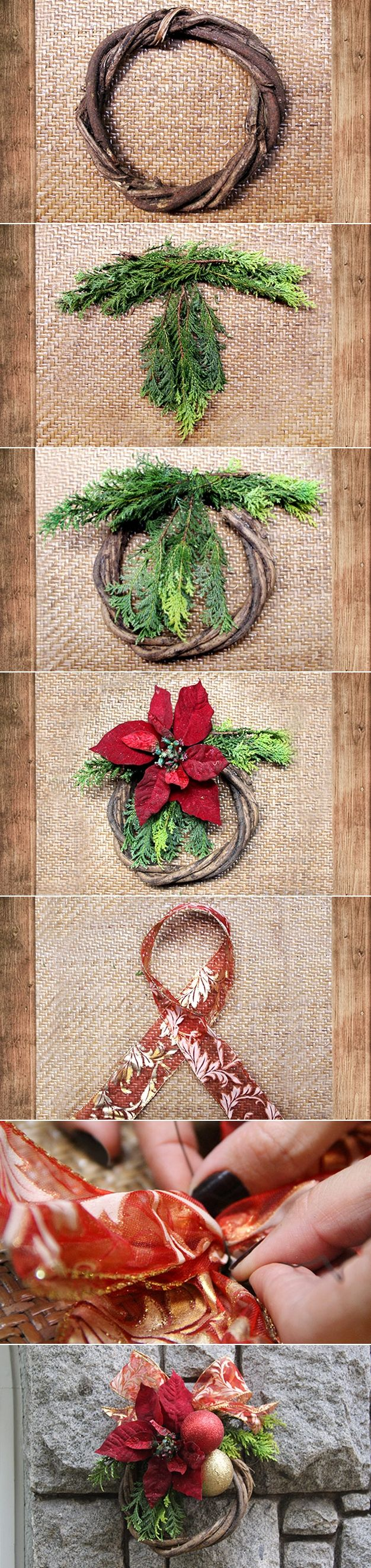How to decorate wooden wreath with Christmas decor