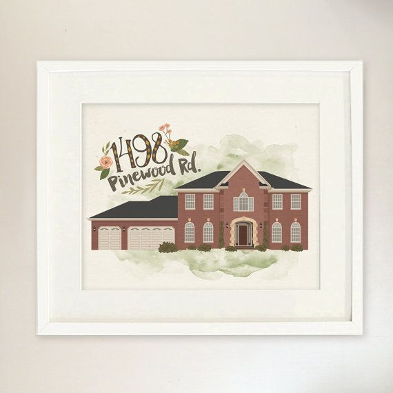 House Portrait  Custom Illustrated Home Closing by InkLaneDesign