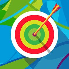 Olympic Games. Rio 2016. Archery target with arrow. Winner illustration vector. Summer Sport. Brazil summer color. Kids sport camp.