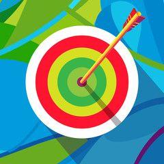 Olympic Games. Rio 2016. Archery target with arrow. Winner illustration vector. Summer Sport. Brazil summer color. Kids sport camp.