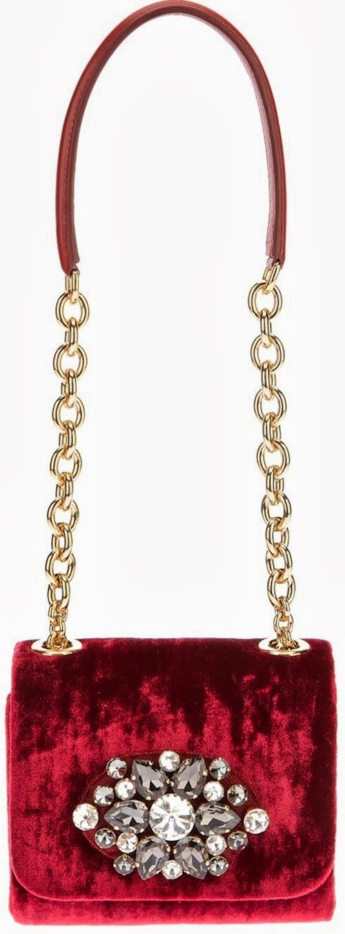 Dolce & Gabbana Velvet Embellished Shoulder Bag