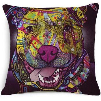Bouledogue français Chien de Roquet Coussin Bull Terrier Coloré Chat Scandinave Oreiller Coussin Coton Lin Nordique Euro Oreiller Décoratif