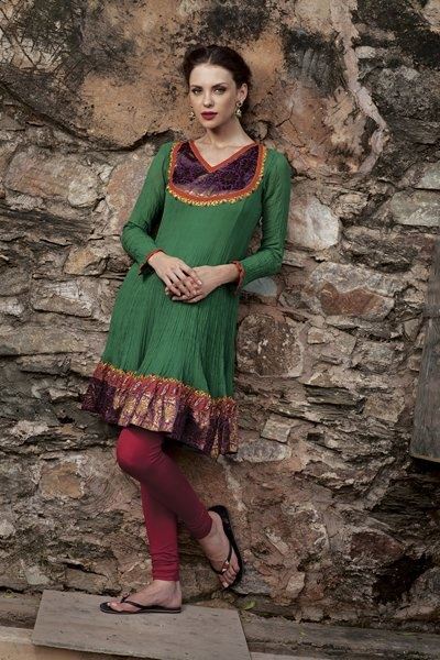 Georgette kurti with brocade border and resham work. Priced at $179.