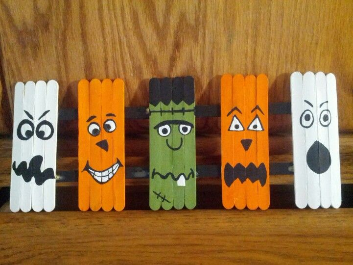 Halloween Craft. Popsicle Sticks, Acrylic Paints And Wood Glue.