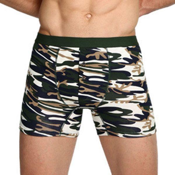 Sexy Cotton Camo Printing Sport Casual Home Boxer Underwear for Men