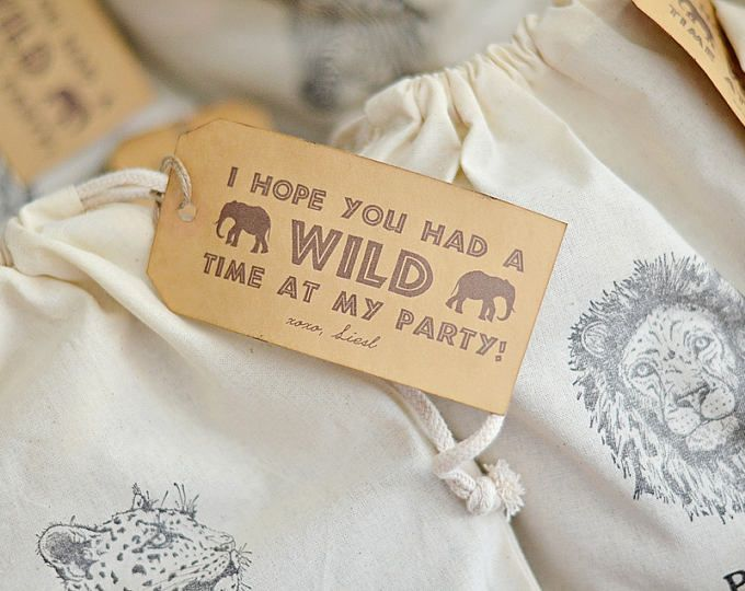 I hope you had a WILD time at my Party, Thank You Favor Tag, Goody Bag Tag Modern Safari Party - PDF Printable Safari Expedition, Rustic