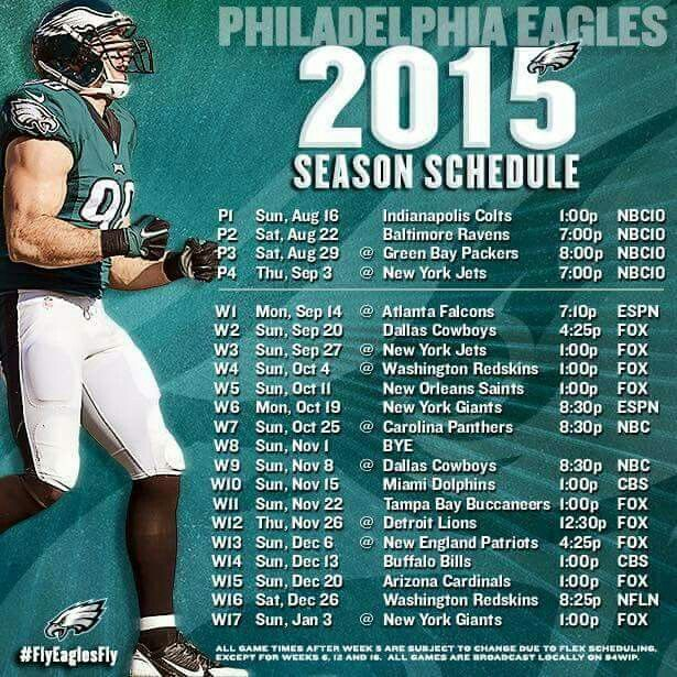 2015 Philadelphia Eagles Schedule