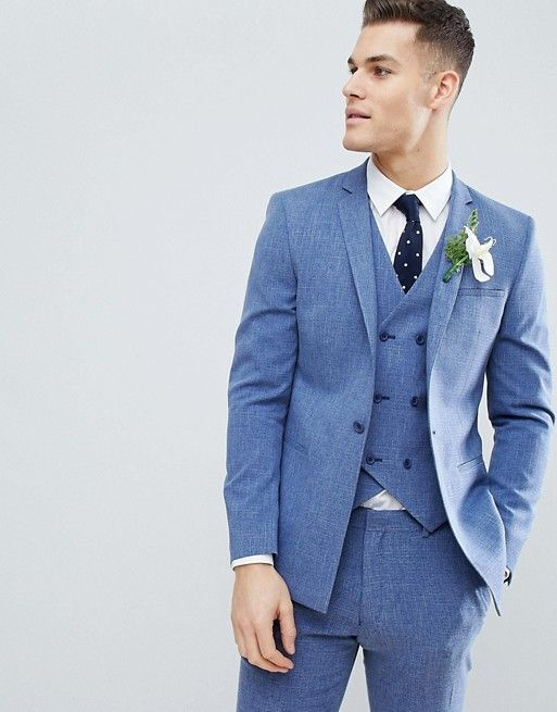 e743ad566a03 ASOS DESIGN wedding skinny suit jacket in provence blue cross hatch with  printed lining | ASOS