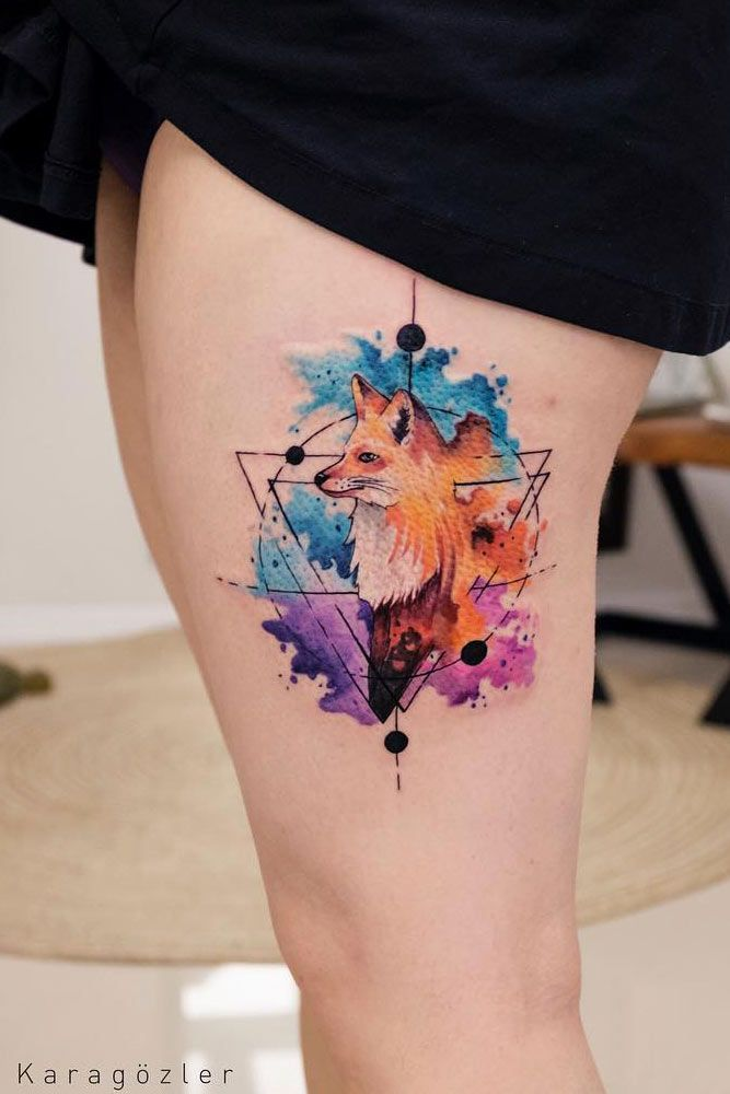 51 Gorgeous Looking Watercolor Tattoo Ideas Geometric Watercolor Tattoo Watercolor Fox Tattoos Shape Tattoo