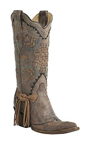 Corral Boot Company Women's Vintage Tobacco with Woven Aztec Design Snip Toe Western Boots | Cavender's