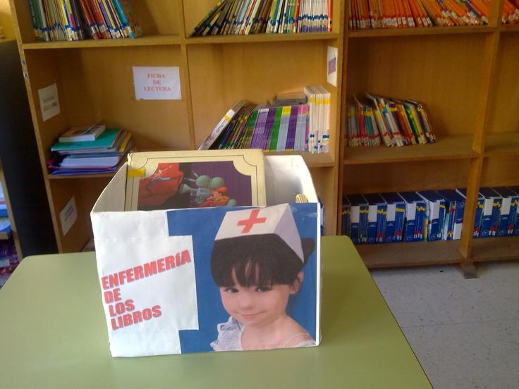 Enfermería de los libros. Idea del CEIP Lucena Rivas de Lanjarón. Para optimizar recursos y concienciar al alumnado en el cuidado y mimo de nuestros libros.