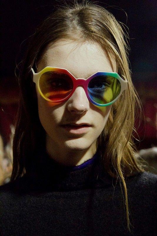 Rainbow shades at Marco de Vincenzo AW15 MFW. See more here: http://www.dazeddigital.com/fashion/article/23877/1/marco-de-vincenzo-aw15