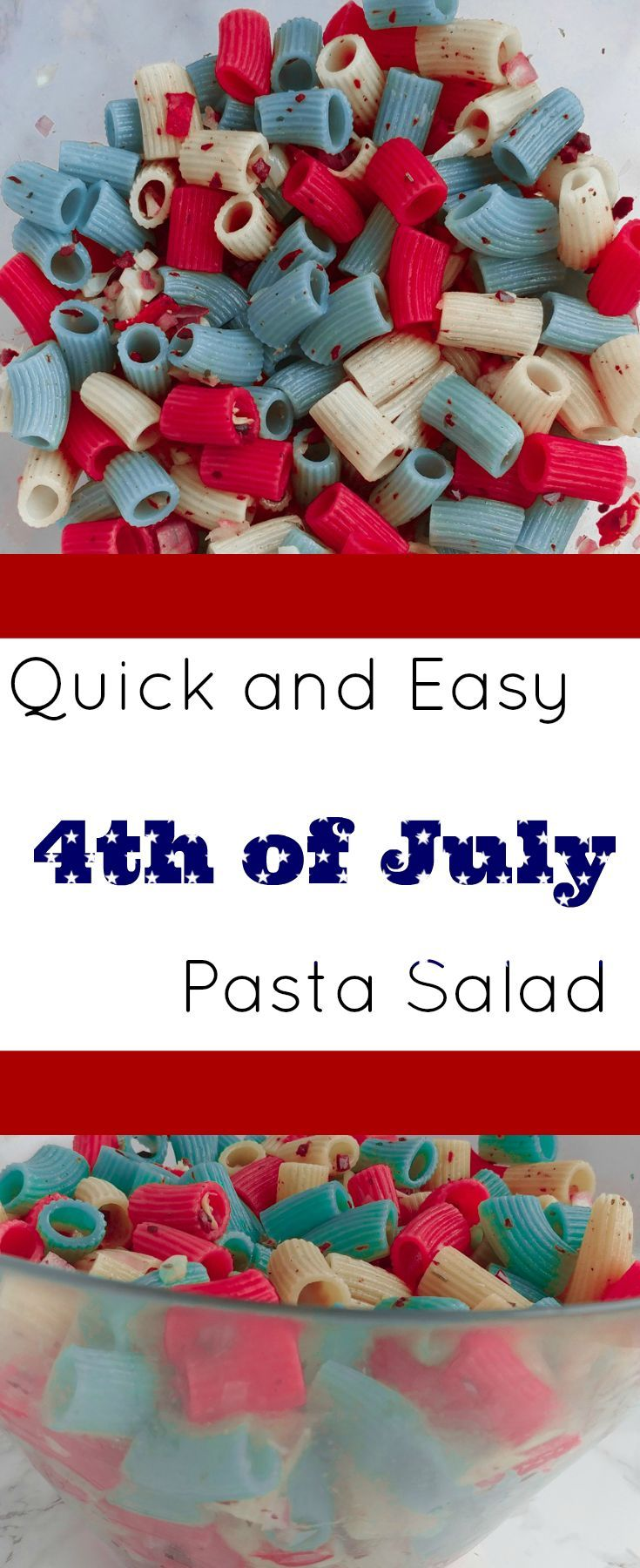 Check out this awesome idea for 4th of July! You'll win over guests at your backyard barbecue with this red, white, and blue pasta salad!