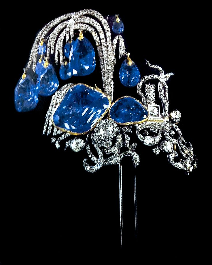 Sapphire Diamond Aigrette that comes with matching Ear Pendants made for the Elizabeth of Russia (1709-62), the daughter of Peter the Great & Katherine. The inspiration for design was drawn from fountains of the palace.  The symbolism of a fountain is rightful ascension.