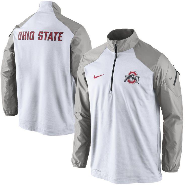 Ohio State Buckeyes Nike Coaches Sideline Half Zip Performance Jacket – White