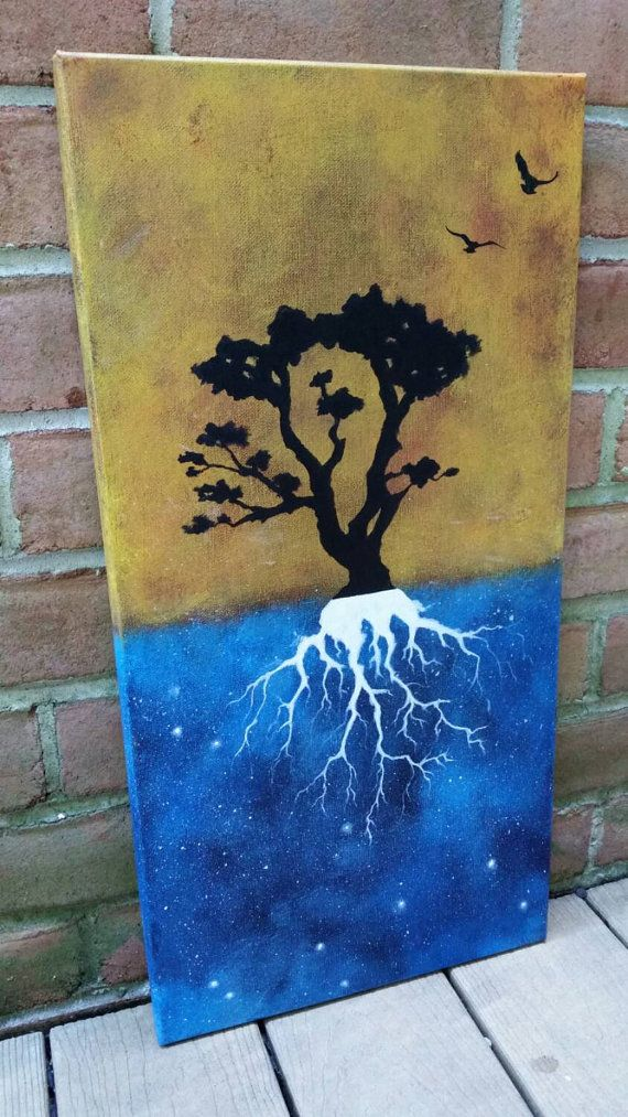Check out this item in my Etsy shop https://www.etsy.com/listing/248247635/tree-of-life-painting-original-abstract night sky painting, original space art, space painting, universe painting, tree painting, roots painting, tree roots, hippie art, hipster art, indie art
