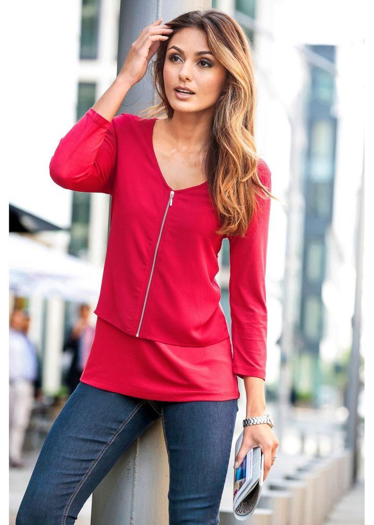 Modny shirt z zamkiem z kolekcji Bodyflirt. Z przodu dwuwarstwowy. Rękawy w długości do łokcia. Dł. ok. 64 cm w rozm. 36/38 i 68 cm w rozm. 44/46. Materiał wierzchni: 95% wiskoza, 5% elastan; Wstawka: 97% poliester, 3% elastan