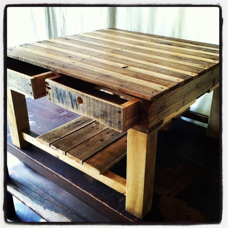 Pallets pallet table with draws for Pallet kitchen bench