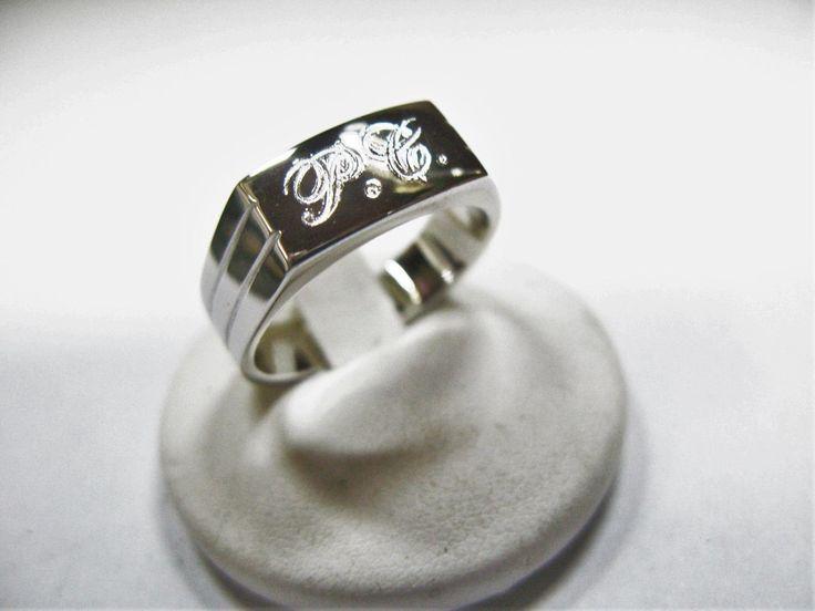 anello uomo donna con doppia iniziale realizzato con lavorazione artigiana in argento 925 di igioiellidiperle su Etsy