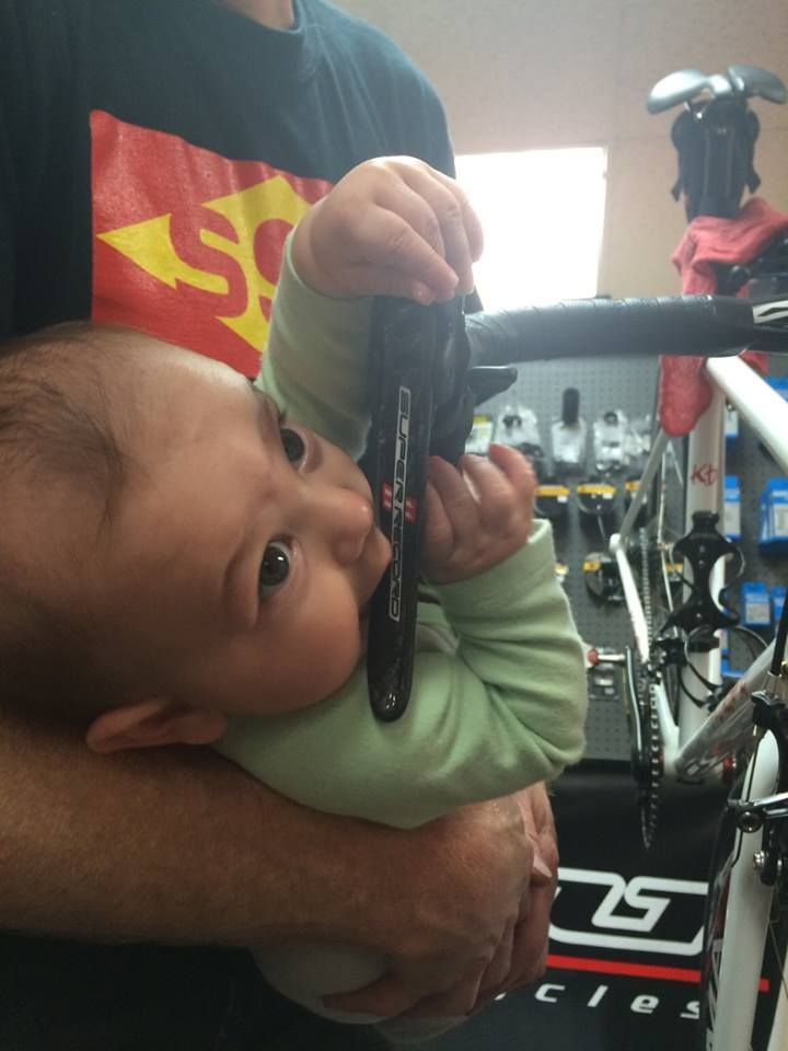 Do you think this baby has good taste?   RELATED: Campagnolo Centaur v. Shimano 105 v. SRAM Rival 22 - http://www.bikeroar.com/tips/compare-shimano-105-v-sram-rival-22-v-campagnolo-centaur?utm_content=buffer79082&utm_medium=social&utm_source=pinterest.com&utm_campaign=buffer.   #campagnolo #campy #superrecord #baby #cyclist #expensive #teething