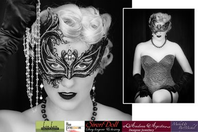 "Jewellery and Venetian mask used in the Sapphira Video ""Tease"".  Embellished with Swarovski Elements"