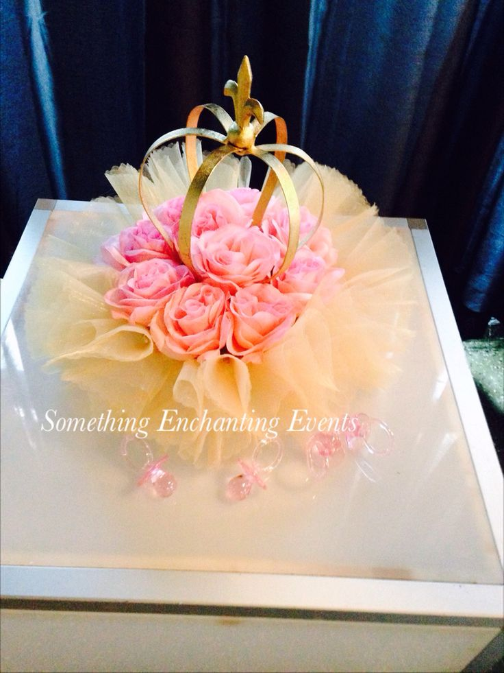 Gold crowns with pink roses centerpieces tutus and