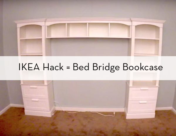 In lieu of a headboard in my bedroom I want the built in bookcase look. While this particular bed bridge look isn't my cuppa it's a good DIY resource.