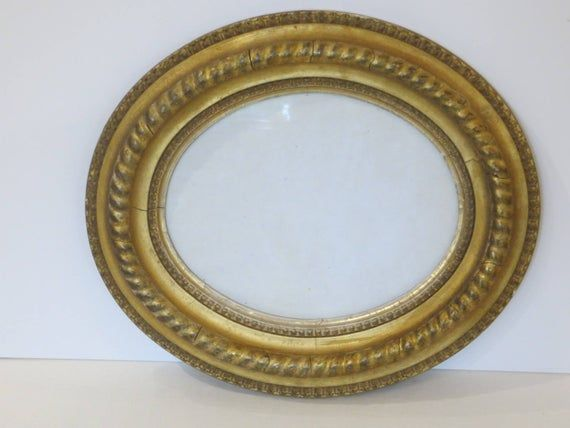 Antique 19th Century Oval Gilded Frame Rope Detail Rope Decor Antiques Frame