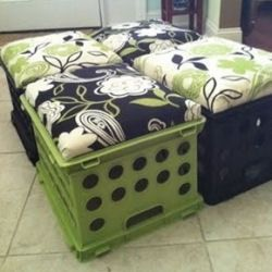 DIY Crate Seats: great for car camping.. fill the crate with necessities (like the beer)