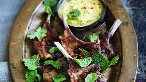 Barbecued lamb cutlets with spicy yoghurt sauce   The spicy yoghurt sauce gives just the right amount of bite to these succulent lamb cutlets.