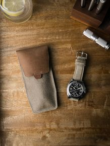 """Bas and Lokes """"Kingsford"""" suede and leather handcrafted leather watch pouch and a Lum-Tec on one of our handcrafted suede watch straps. Available at www.basandlokes.com"""