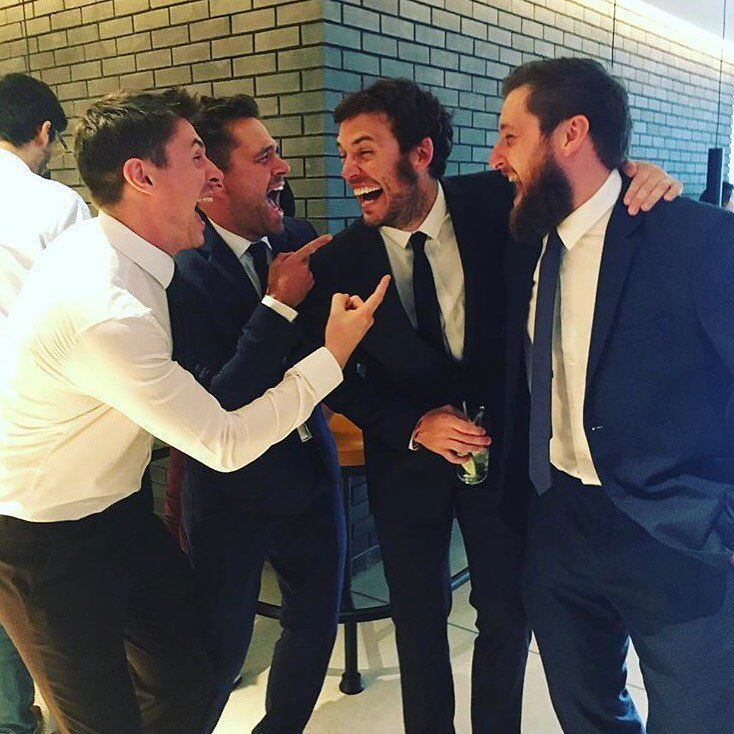 "Sam Claflin (@mrsamclaflin) on Instagram: ""The LAMDA lads reunite for a token ""hahaha"" pose. We don't have the opportunity to hang anywhere…"""