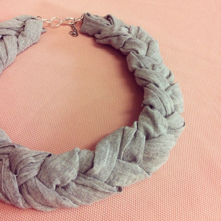 Handmade braided grey fabric necklace